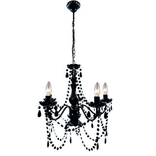 Edelweiss Black Acrylic/Metal 36-inch 5-light Chandelier