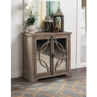 Kosas Home Drew Natural Solid Elm Wood and Iron 2-door Mirrored Cabinet