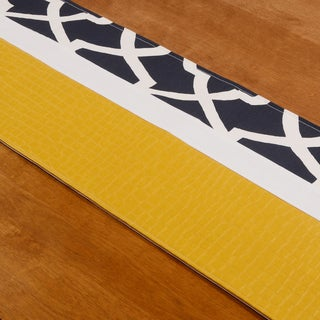 Glade Runner Yellow/White/Blue Cotton/Polyester 15-inch x 54-inch Pieced Runner