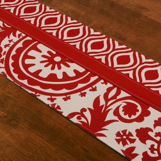 Suzani Lipstick Pieced Red, White Cotton, Polyester 15-inch x 54-inch Runner