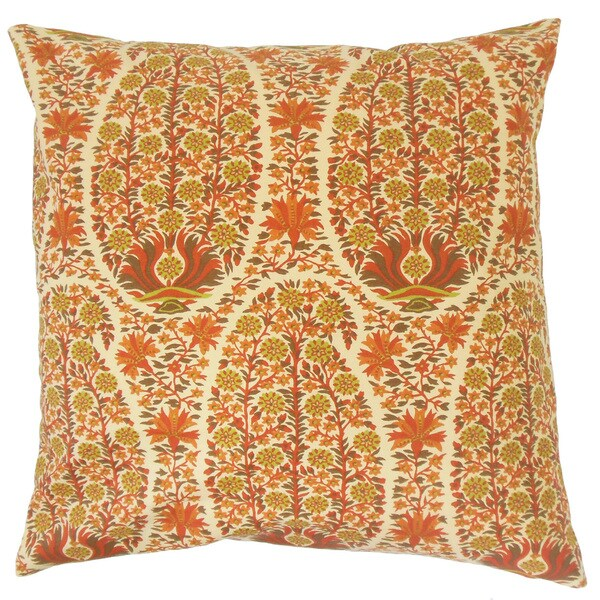 Caliana Floral Throw Pillow Cover Saffron
