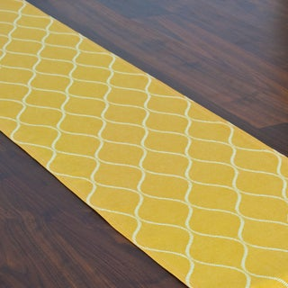 Oh Gee Topaz Yellow/White Cotton 12.5-inch x 72-inch Runner