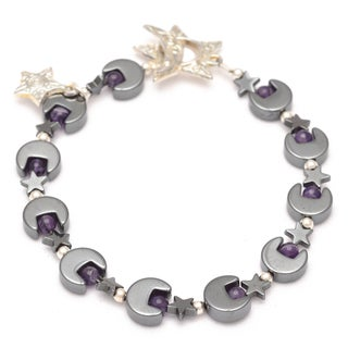 Healing Stones for You Hematite Moon and Star Bracelet with Amethyst