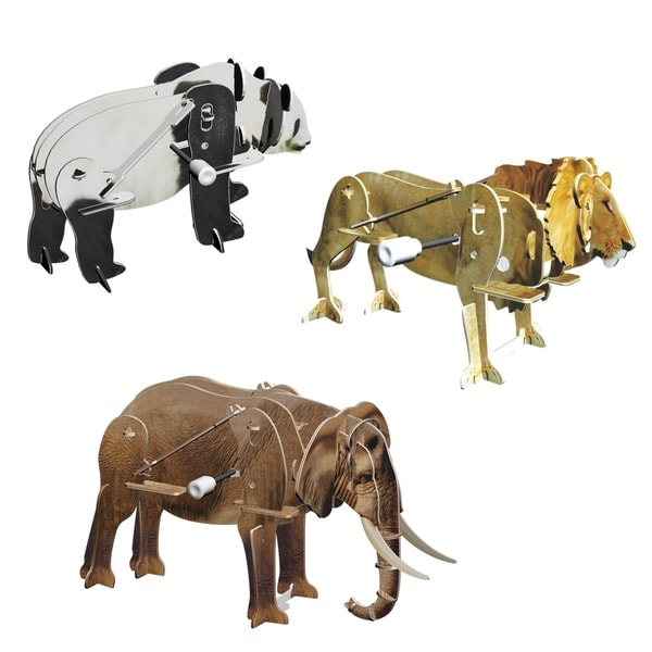 Smithsonian 6-inch x 5-inch x 4-inch 3D Motorized Safari Animal Puzzles (Pack of 3)