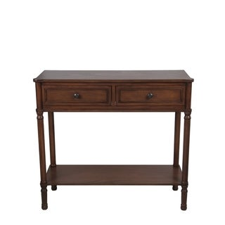 Privilege Chocolate Walnut Wood Transitional 2-drawer Console Table