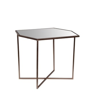 Privilege Champagne Goldtone Metal/Glass Contemporary Accent Table