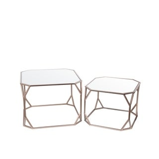 Privilege Champagne Goldtone Metal/Glass Set of 2 Contemporary Accent Stands