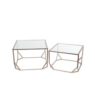 Privilege Goldtone Glass/Metal Set Of 2 Accent Tables