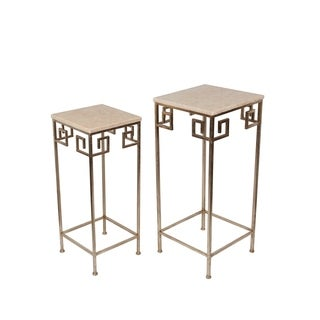 Privilege Gold/Off-white Mable/Iron Contemporary Accent Tables (Set of 2)