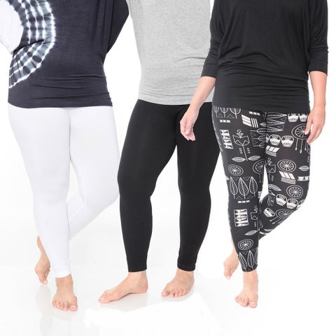 White Mark Women's Polyester Plus Size Legging (Pack of 3)