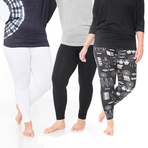 White Mark Women's Polyester Plus Size Legging (Pack of 3)
