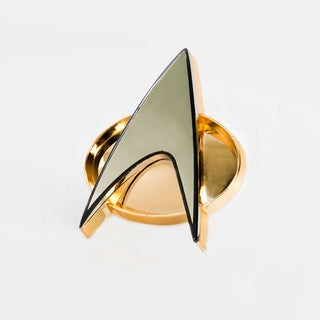 Quantum Mechanix Gold and Silver Finished Metal 'Star Trek: The Next Generation' Communicator Badge Replica