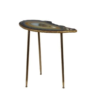 Privilege Goldtone Metal Contemporary Leaf Accent Table