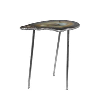 Privilege Silver Metal Contemporary Leaf Accent Table