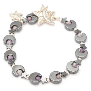 Healing Stones for You Hematite Moon and Star Bracelet with Lepidolite