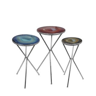 Privilege Contemporary Silver-finish Metal Accent Stands (Set of 3)