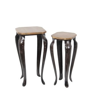 Privilege Brown Wood Traditional Medium Plant Stands (Set of 2)