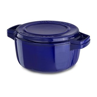 KitchenAid KCPI40CRFU Professional Fiesta Blue Cast Iron 4-quart Casserole Cookware