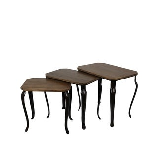 Privilege Transitional Brown Wood Nesting Tables (set of 3)