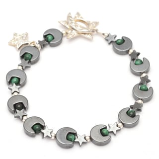 Healing Stones for You Hematite Moon and Star Bracelet with Malachite