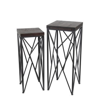 Privilege Contemporary 10501 Dark Brown Wood Square Plant Stands (Set of 2)