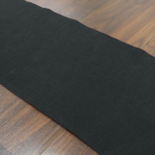 Circa Night Black Linen/Polyester 12.5-inch x 72-inch Solid Runner