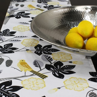 Small Talk Blackbird White/Grey/Yellow Cotton 12.5-inch x 72-inch Runner