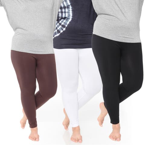 White Mark Women's Plus Size Legging Pack of 3