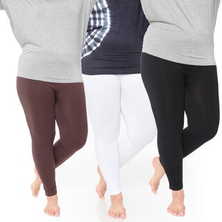 White Mark Women's Plus Size Legging Pack of 3 (5 options available)