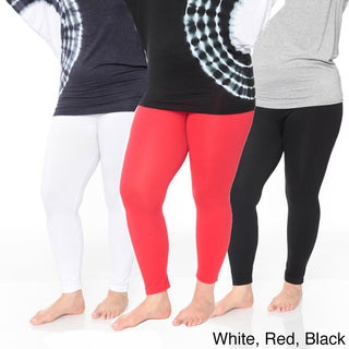 White Mark Women's Plus Size Legging Pack of 3 (2 options available)