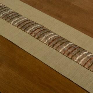 Natural Brown Ribbon Stripes 12.5-inch x 54-inch Burlap Runner