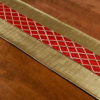 Shimmer Gold Synthetic Fiber 12.5-inch x 54-inch Runner with Red Sequin Ribbon