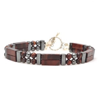 Healing Stones for You Red Tiger Eye Double Power Bracelet 'Metabolism Boost'