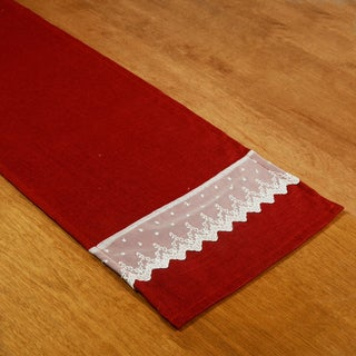 Circa Solid Lava Red and Off-White Linen 12.5-inch x 54-inch Runner with Lace Borders