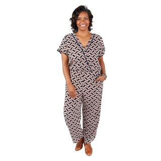 Hadari Women's Plus Size V-Neck Short Sleeves Chevron Jumpsuit