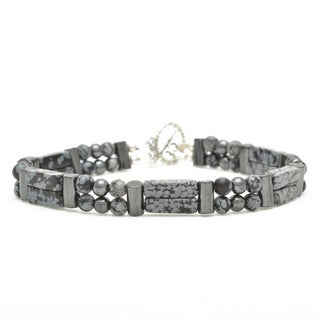 Healing Stones for You Snowflake Obsidian Double Power Bracelet 'Balance'