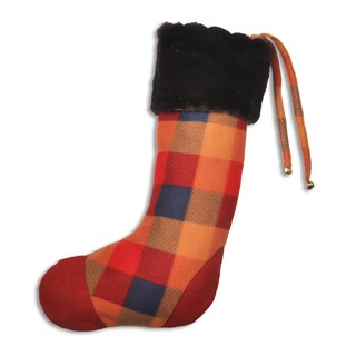 Aubrey's Red Polyester Plaid Christmas Stocking