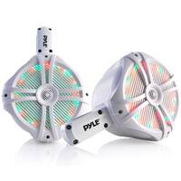 Pyle PLMRWB65LEW White with Multi-Color LED Lights 6.5-inch 200-watt Water-resistant Dual Marine Wakeboard Tower Speakers