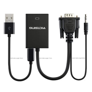 VGA to HDMI Output 1080p H + Audio TV AV HDTV Video Cable Converter Black Adapter for TV/PC Laptop Monitor