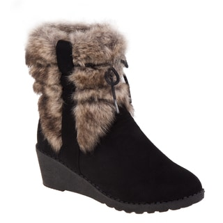 Kensie Girl Girls' Black Faux Suede/Fur Wedge Boots