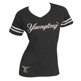 Yuengling Women's Black Cotton/Polyester Striped-sleeve T-Shirt