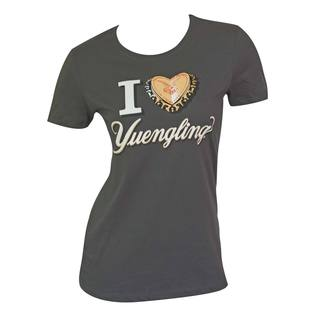 Women's Yuengling Bottle Cap Heart Grey Cotton/Polyester T-shirt