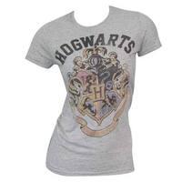 Harry Potter Women's Hogwarts Grey Cotton/Polyester T-Shirt