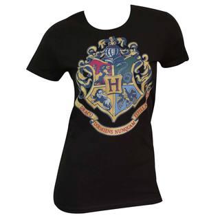 Women's Harry Potter Crest Black Cotton/Polyester T-shirt