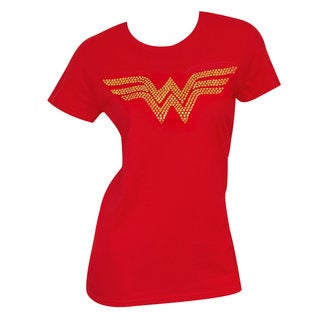 Women's Red Cotton and Polyester Gold 'Wonder Woman' Rhinestones Logo T-Shirt