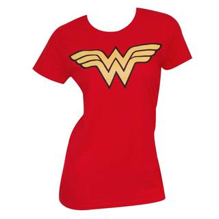 Women's Wonder Woman Logo Red Cotton/Polyester T-shirt