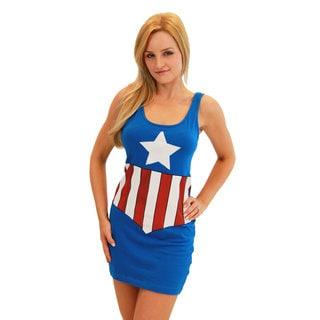 Captain America Women's Blue Cotton/Spandex Tank Dress