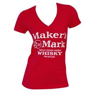 Maker's Mark Women's Red Cotton/Polyester V-neck T-shirt