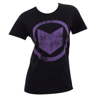Women's Hawkeye Distressed Icon Black Cotton and Polyester T-shirt