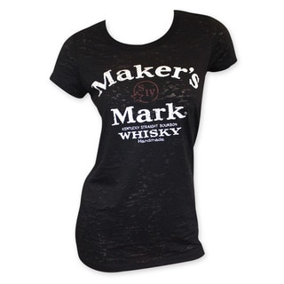 Maker's Mark Women's Black Cotton/Polyester Arch Logo Crewneck T-shirt